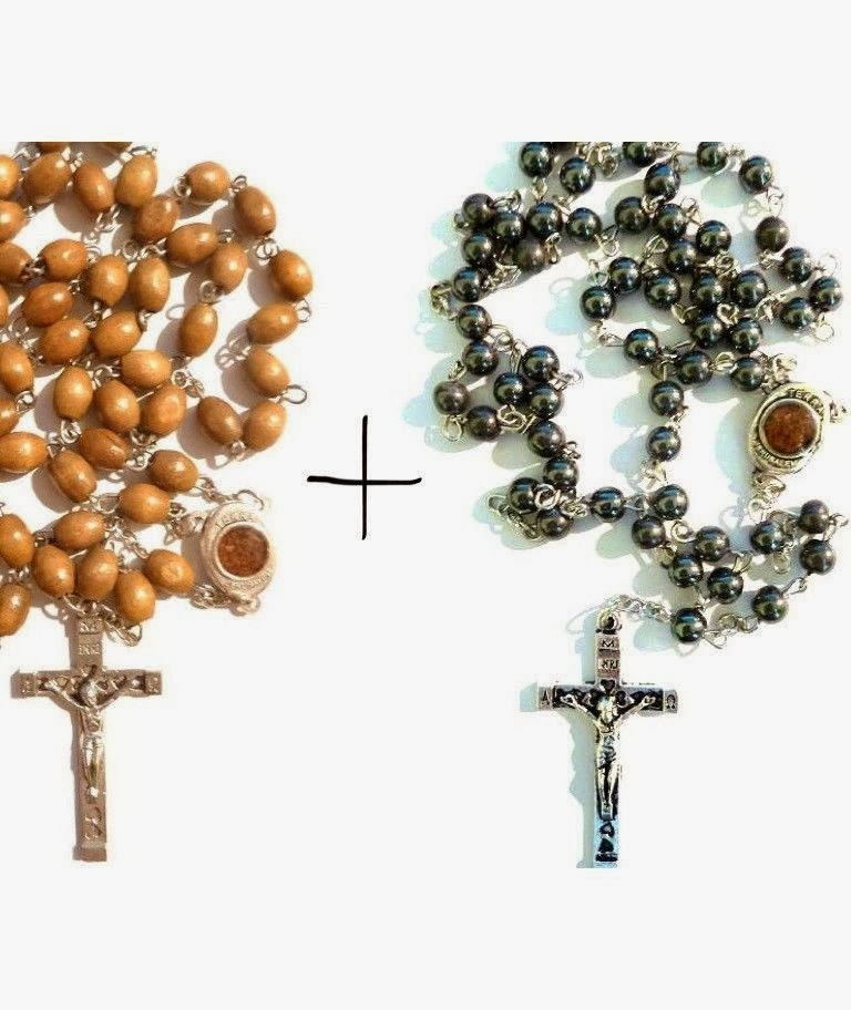 Fine Olive wood Rosary + Hemetite stone Rosary includes earth from Jerusalem lot