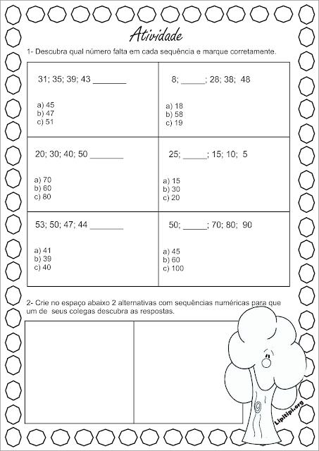 Atividade sequências numéricas Padrão múltipla escolha