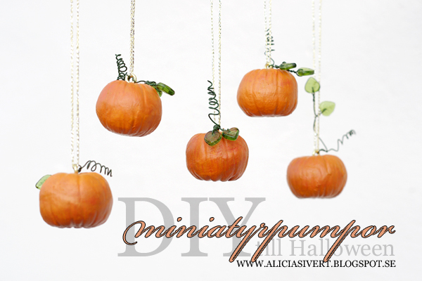 DIY air drying clay miniature pumpkins for Halloween, tutorial by Alicia Sivertsson, 2015. Alicia Sivert, aliciasivert, skapa, skapande, lufttorkande lera, das pronto, kreativitet, pumpa, pumpor, hanging pumpkin, do it yourself, decoration, creativity, create, how to