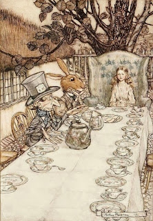 illustration by arthur rackham of alice in wonderland tea party