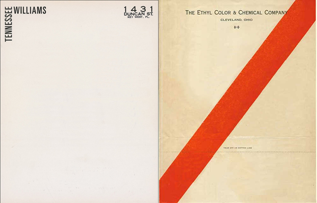 Tennessee Williams Ethyl Chemical letterhead