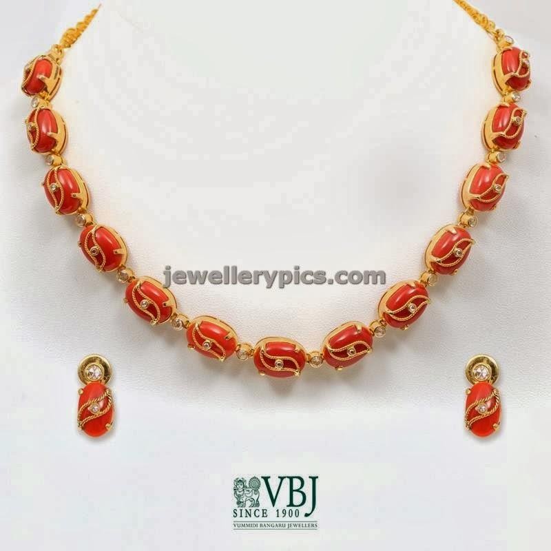 coral gold necklace