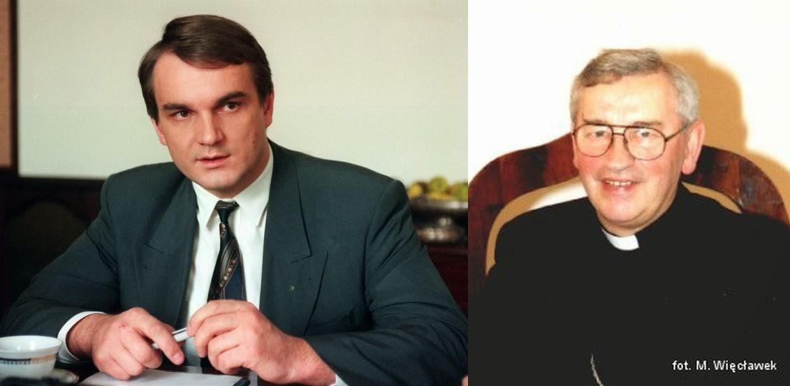 Premier Waldemar Pawlak i biskup Tadeusz Pieronek 1993