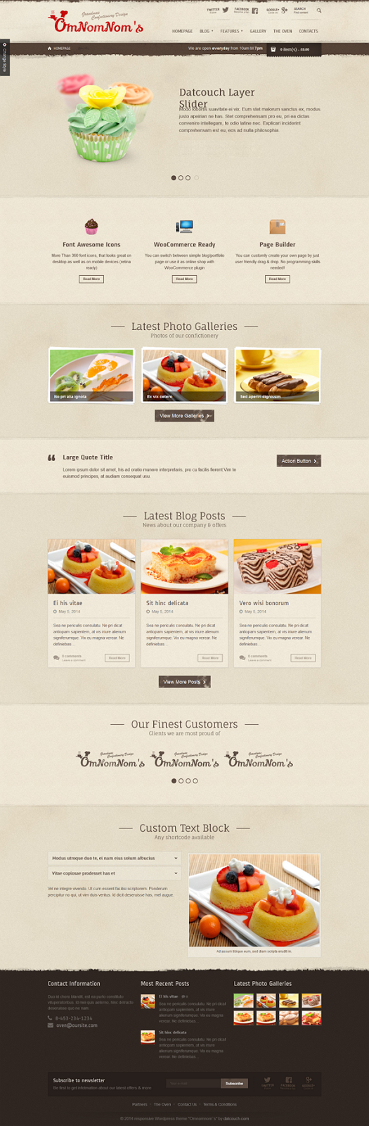 free Responsive Restaurant Theme