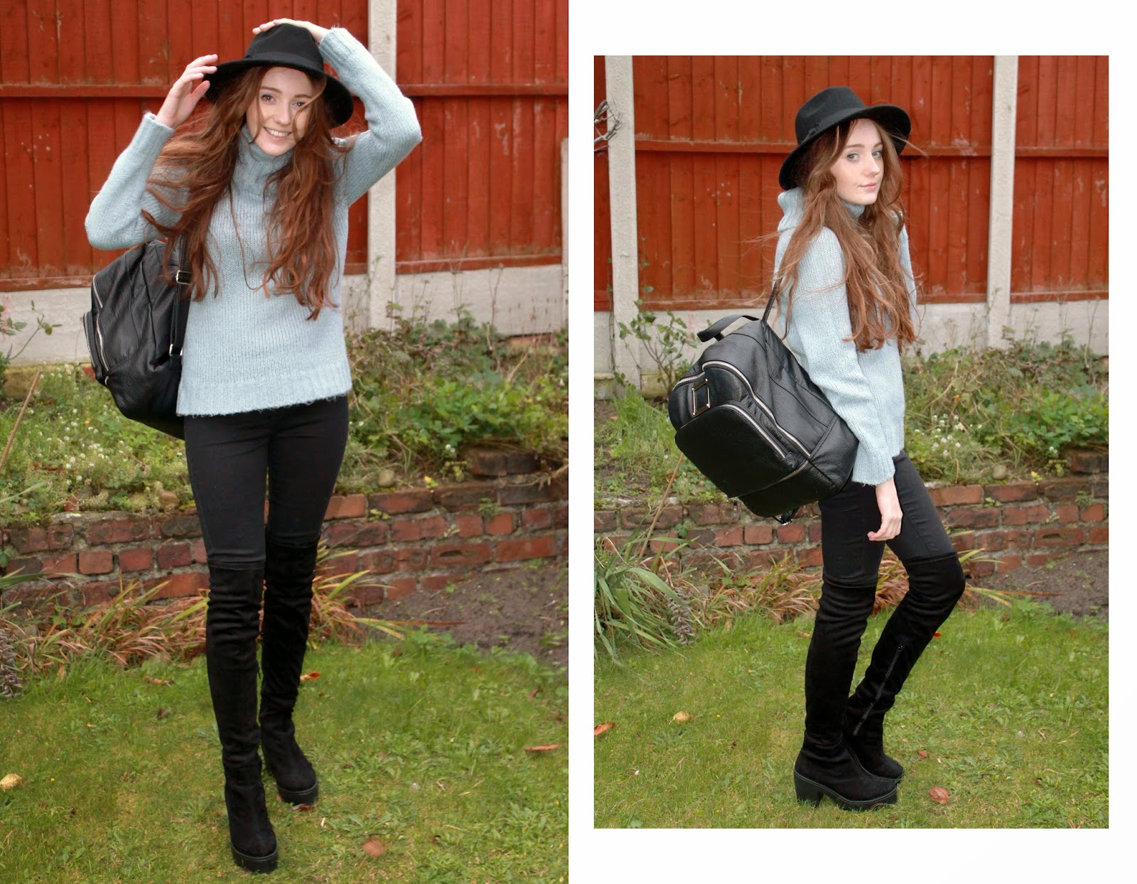 black primark fedora, pale blue roll neck jumper, asos black backpack, black river island lana skinny jeans and river island black heeled suede over the knee boots