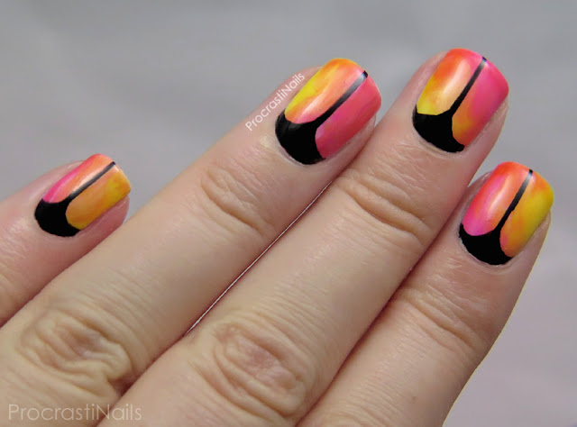 Nail art using Essie Muse, Myself, Art New-Beau and Blush Stroke