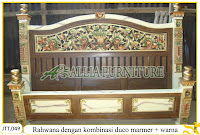 Tempat tidur ukiran kayu jati Rahwana duco marmer warna