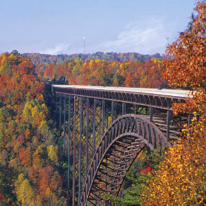 New River Gorge bridge with autumn leaves