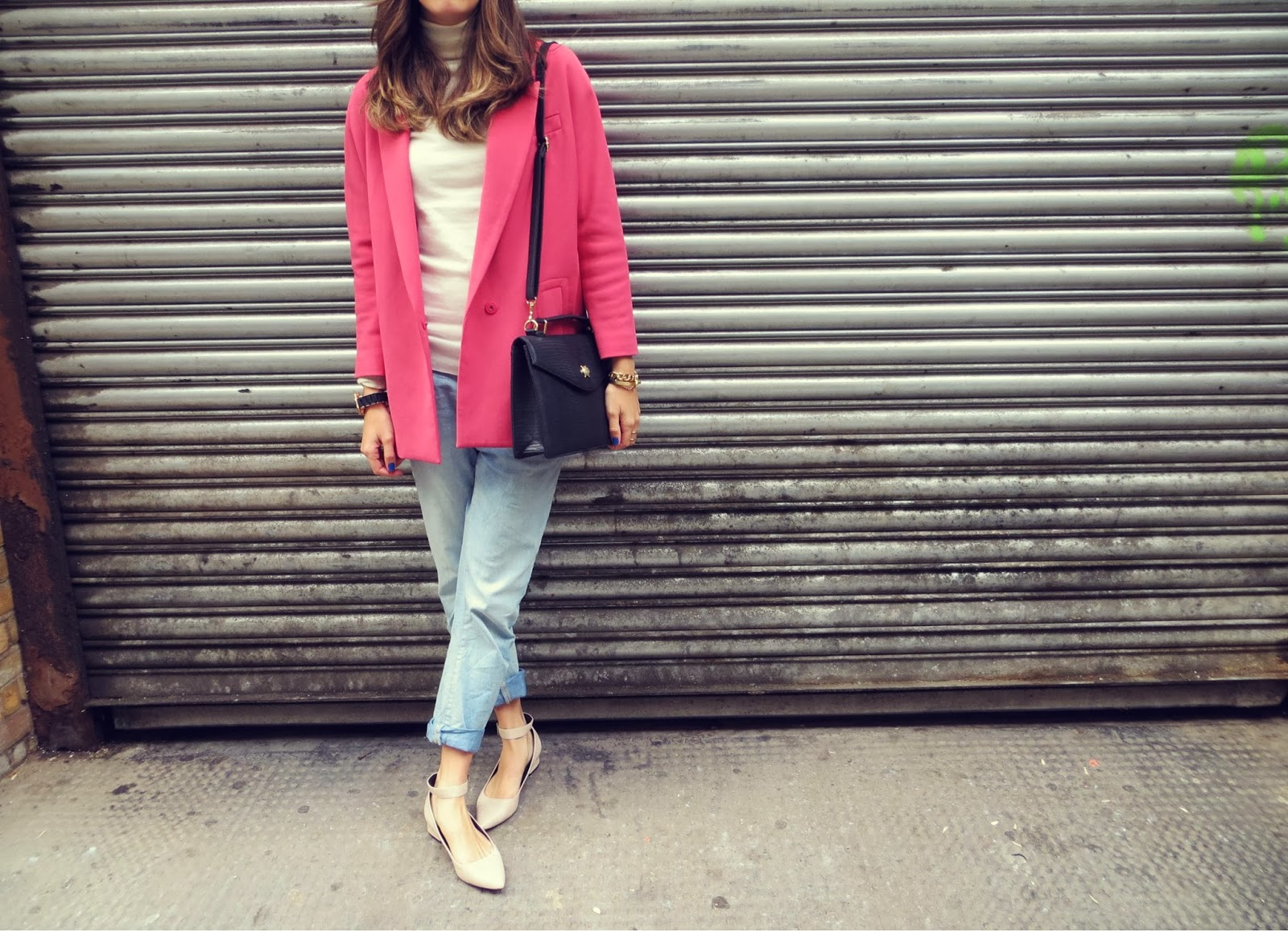 pink oversized mens coat h&m zara boyfriend jeans pointed pumps office shoes fashion london