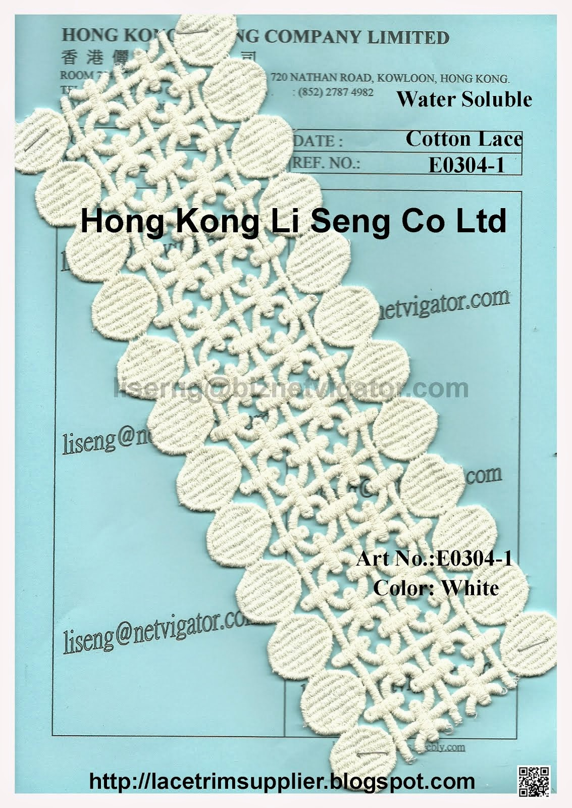 Water Soluble Cotton Embroidery Lace Trims Manufacturer - Hong Kong Li Seng Co Ltd