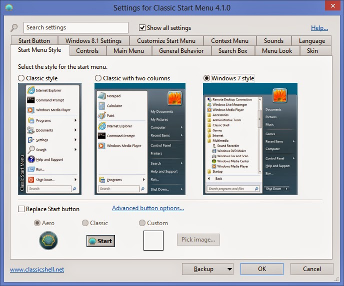 Classic Shell Start Menu Settings