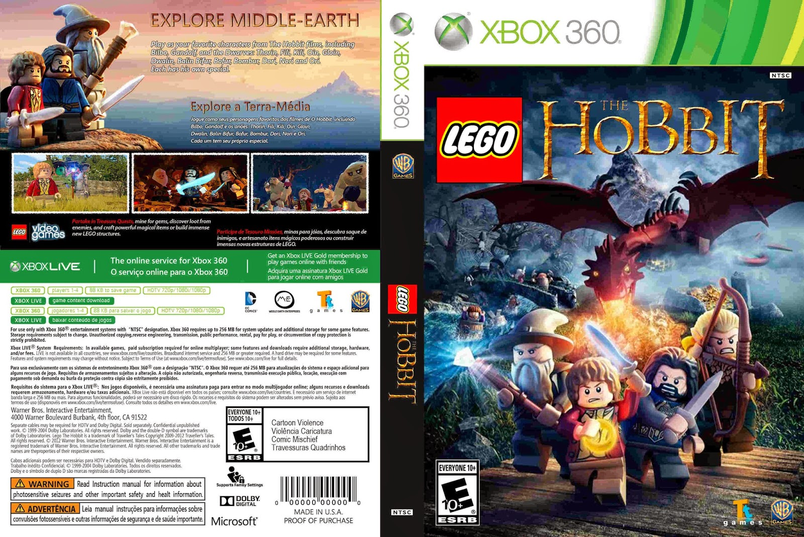 LEGO The Hobbit - Capa 02 Game e Label XBox 360