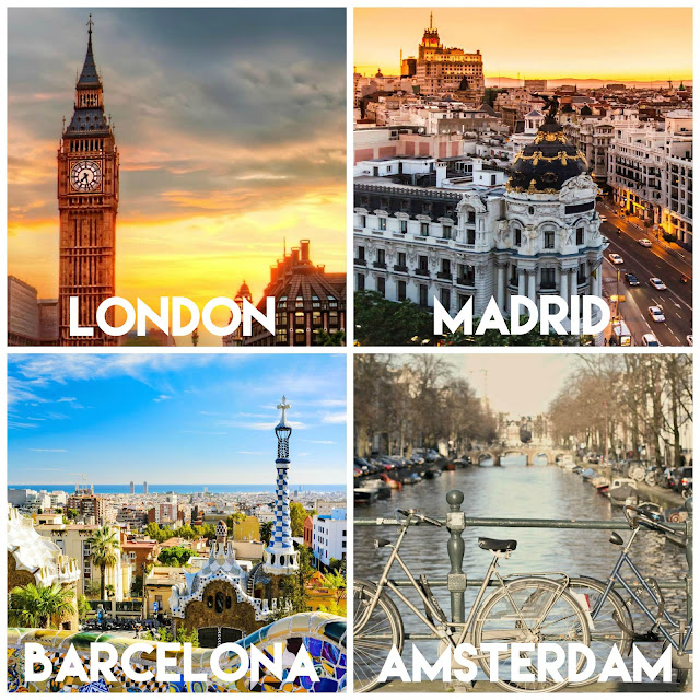 Recommendations for thing to do, eat, drink or shop in London, Madrid, Barcelona and Amsterdam