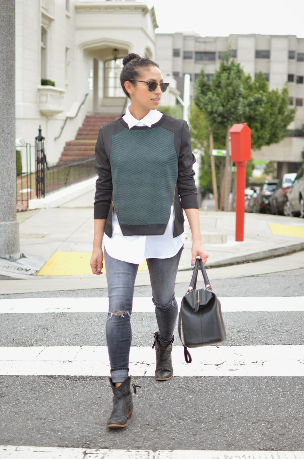 Allergic to Vanilla style blog- zippered sweater, Le Tote, Lush clothing, SF style, tom boy chic