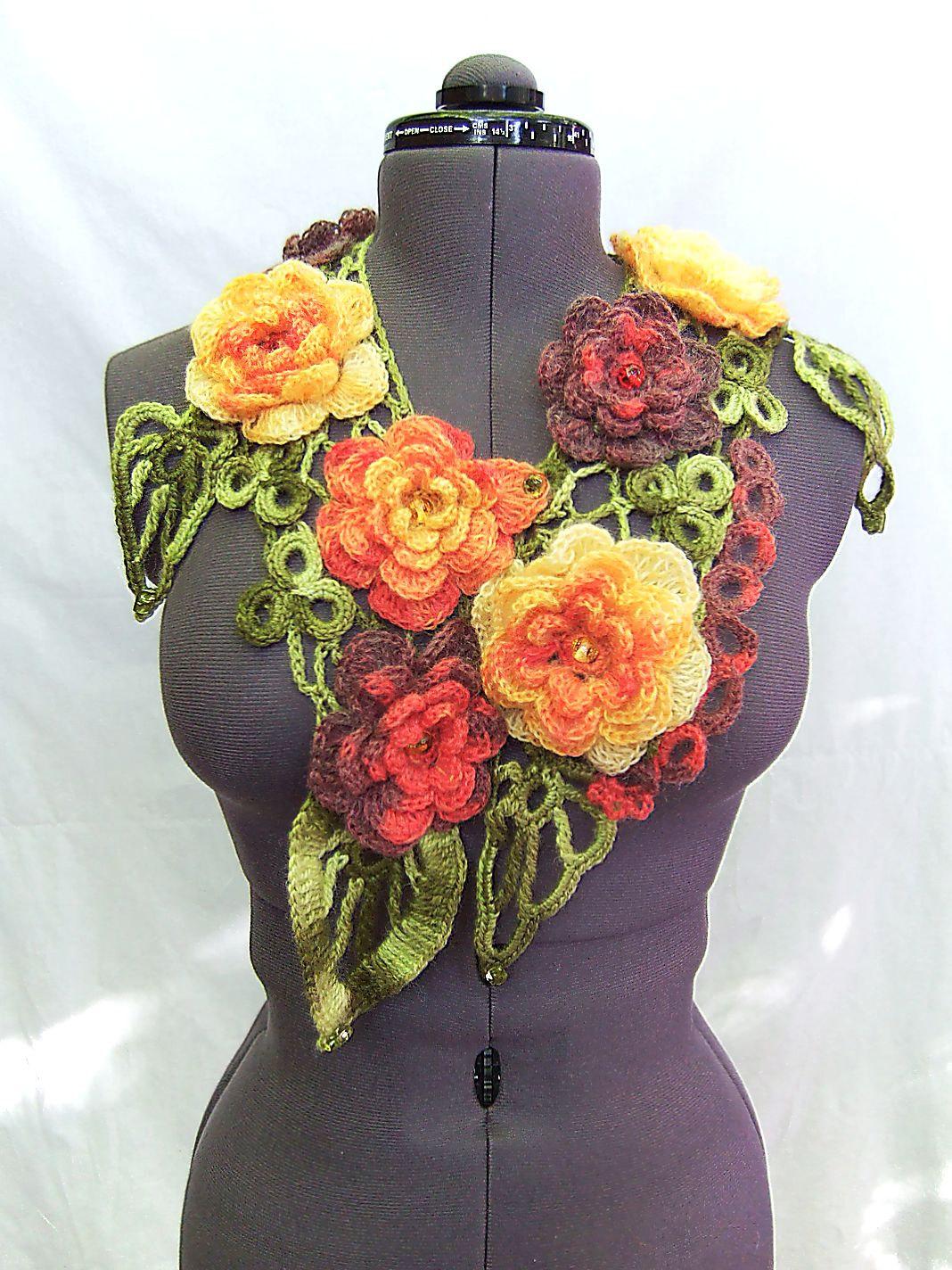 Вязание крючком шарфы цветочные 99