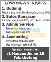 Lowongan Kerja Admin, Accounting & Sales