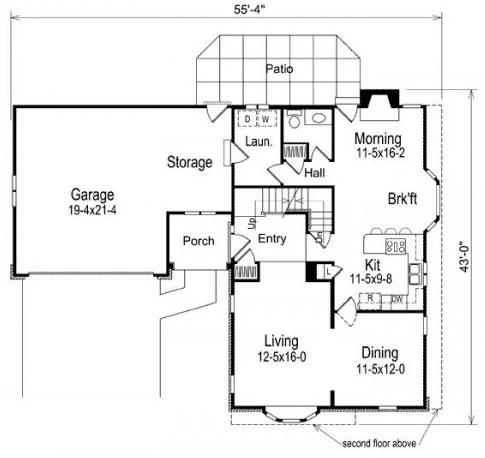 Planos y fachada de casa de dos plantas con 5 dormitorios for Fachada casa 2 plantas