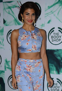 Jacqueline Fernandez in short top at The Launch Of The Body Shops New Range Products in Mumbai