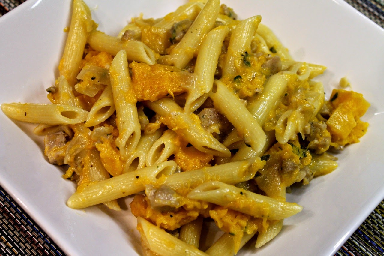 Penne with Sausage, Goat Cheese, Sage and Butternut Squash