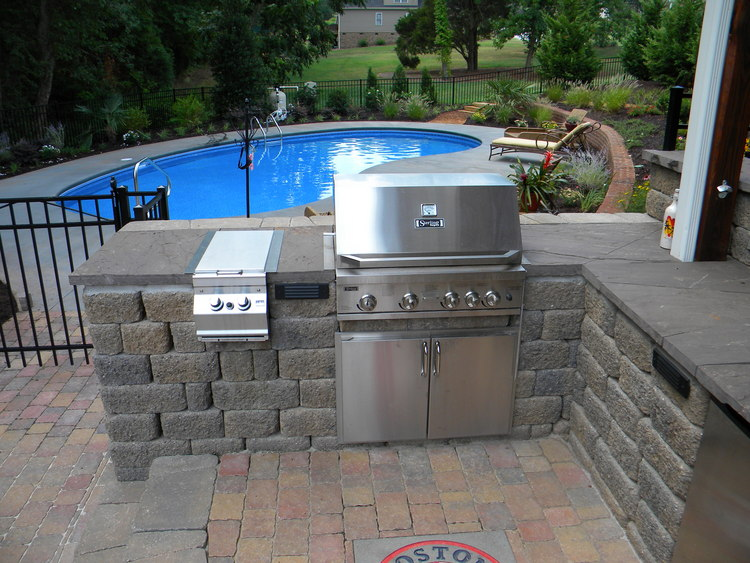 Pictures Of Outdoor Pools And Kitchens : Bbq Outdoor Kitchens Nj Built In Grill Fireplace Design Ideas Pool And