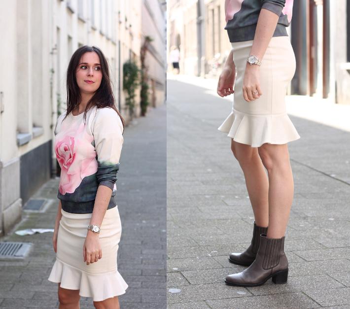 rose print sweatshirt peplum skirt chelsea boots