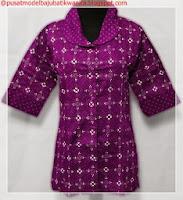 model baju batik kombinasi modern ungu