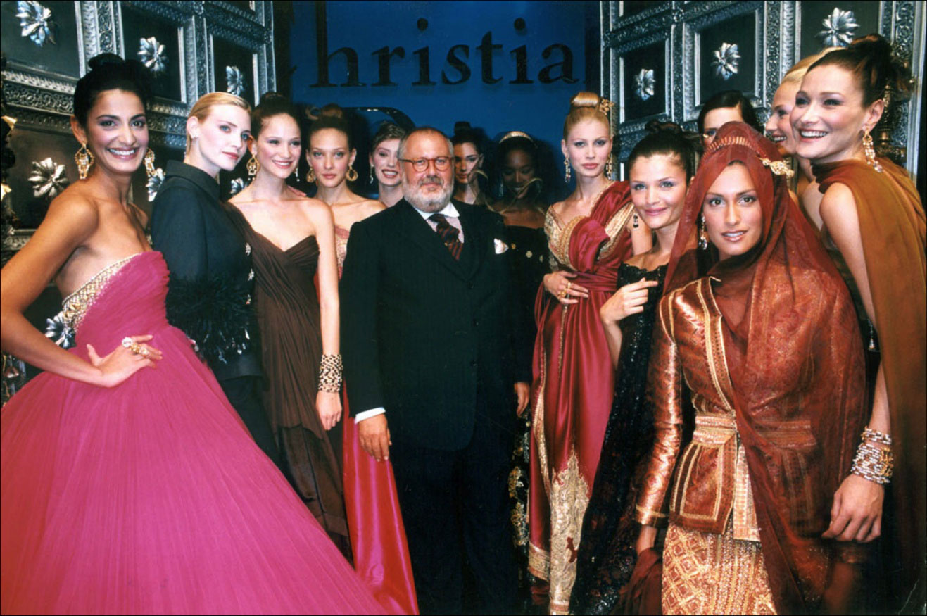 Gianfranco Ferre and his models at Christian Dior Haute Couture Fall/Winter 1996, the last collection Ferre designed for Dior