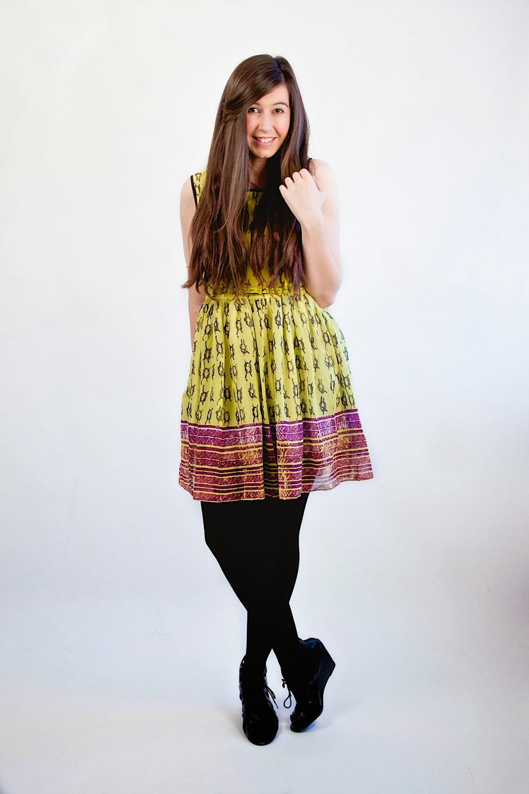 choies, a line dress, aline dress, asymmetrical dress, purple and yellow dress, choies, choies dress, yellow pleated dress, yellow poofy dress,