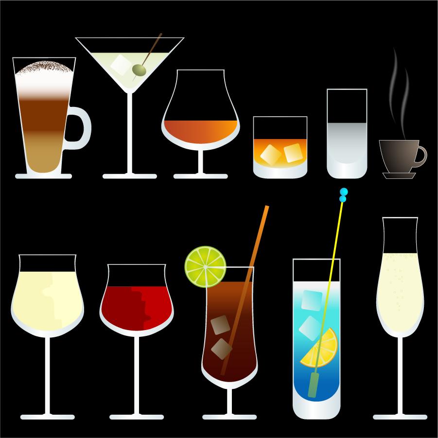 お洒落なカクテル グラスのクリップアート glasses drinks cocktails イラスト素材2