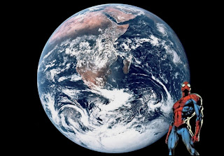 Spiderman Superhero free posters Wallpapers Standing Tall watching the Earth from Space background