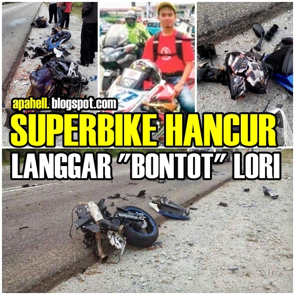 Superbike Hancur Langgar Belakang Lori di Jalan Kuantan-Segamat (10 Gambar)