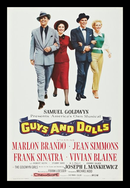vintage, vintage posters, classic posters, retro prints, free download, graphic design, movies, theater, Guys and Dolls, Marlon Brando, Frank Sinatra - Vintage Movie Poster
