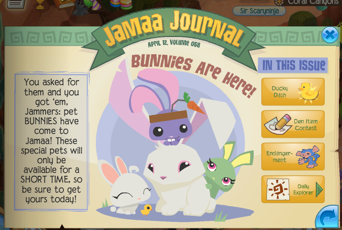 Animal Jam Codes http://animaljamflash.blogspot.com/2012/04/new-newspaper-and-bunny-pets.html
