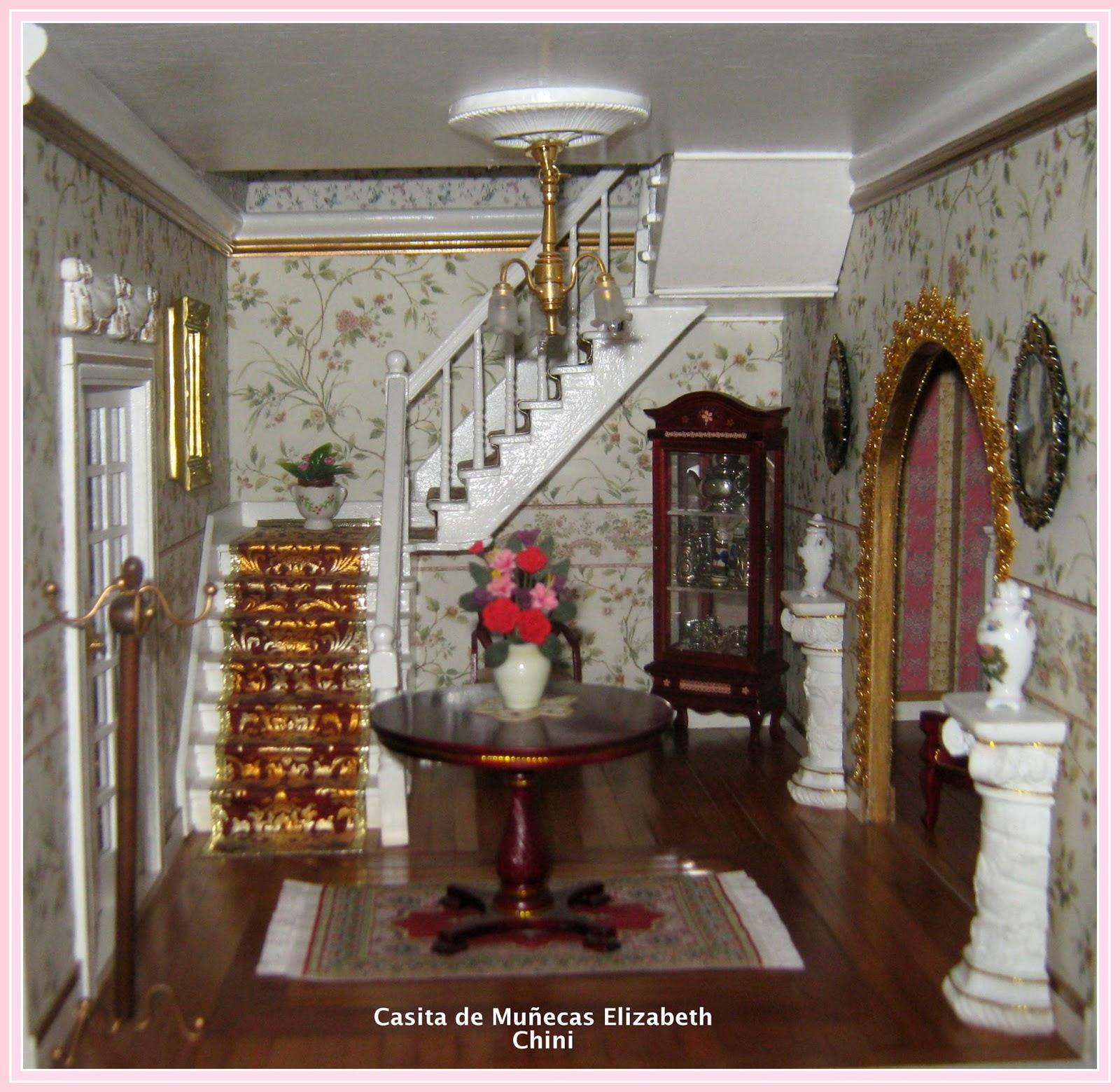 Casita de mu ecas de elizabeth decoracion hall principal - Decoracion de casas de munecas ...