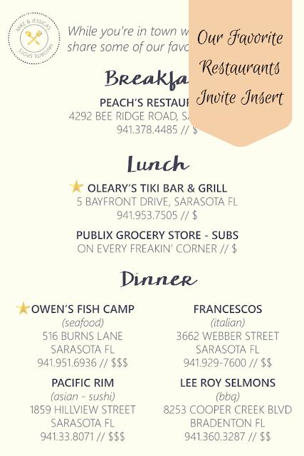 Our Favorite Restaurants Wedding Invite Insert by Wamp Designs