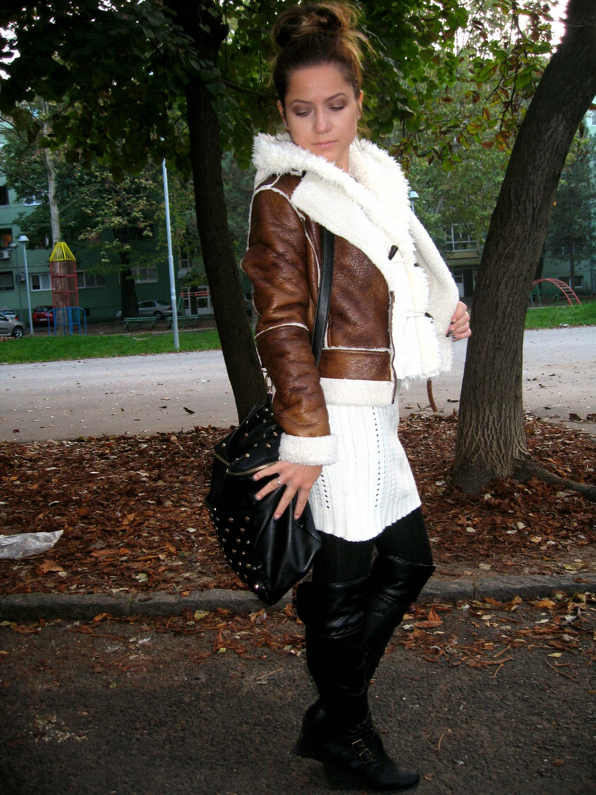 outfit, over the knee boots, bomber jacket, white knit dress, white fur vest, fall layering
