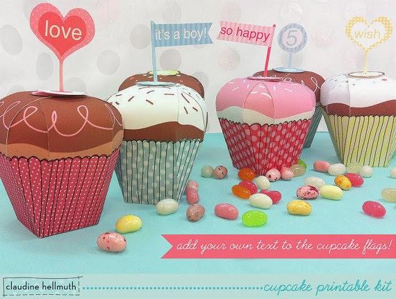 """kreatywne opakowania na słodkości w kształcie muffinek - inspirujące prace claudine hellmuth w """"Środowych Inspiracjach""""."""