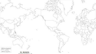 Mapamundi, mapa politico para colorear