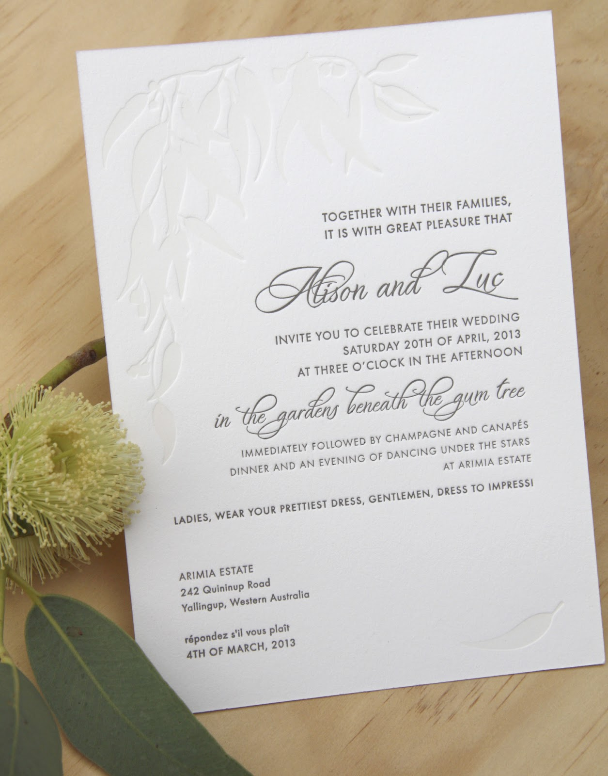 Fluid Ink Fine Letterpress of Australia: Gumtree wedding invitation.