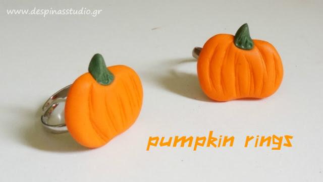 Polymer clay pumpkin rings