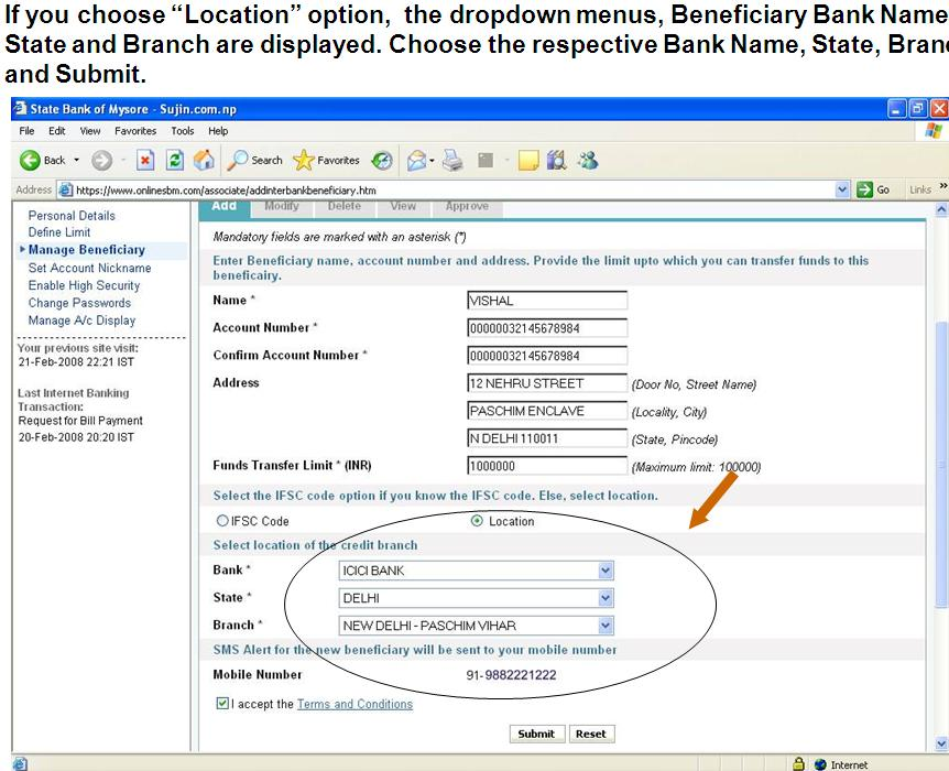 how to change my mobile number in indian bank online