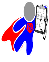 image Nurse - Superhero red and blue with clipboard and stethoscope