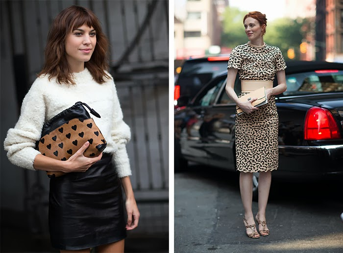 street style fashion week spring 2014, leopard, burberry heart clutch