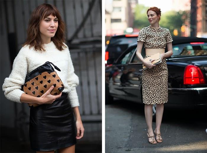 street style fashion week spring 2014, leopard, burberry heart clutch