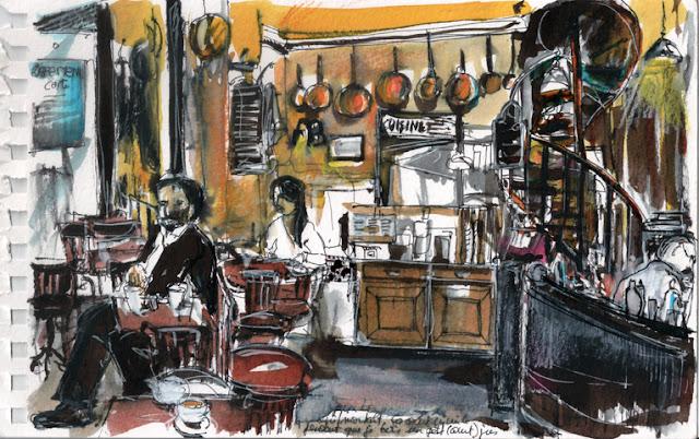 Café Le Ménilmontant, Carnet de voyage parisien, Delphine Priollaud-Stoclet