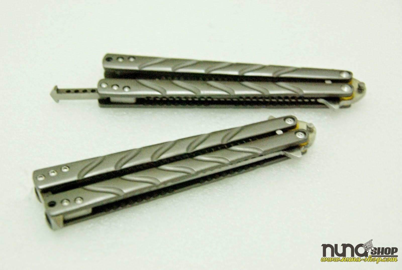 Balisong Butterfly Comb Mtech Warna Abu Tua Terbuat Dari Titanium