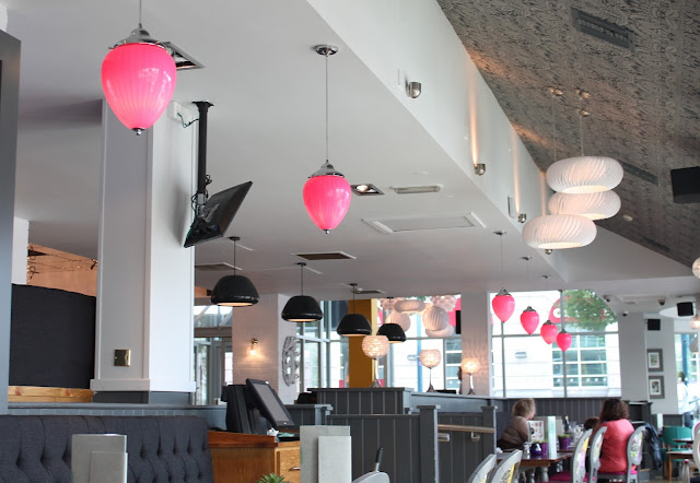 Slug and Lettuce Cardiff grey and pink interior