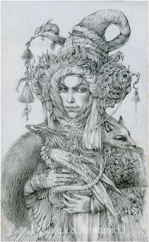16-Merchant-of-Dreams-Olga-Anwaraidd-Drawings-Fantasy-Portraits-Imaginary-Characters-www-designstack-co