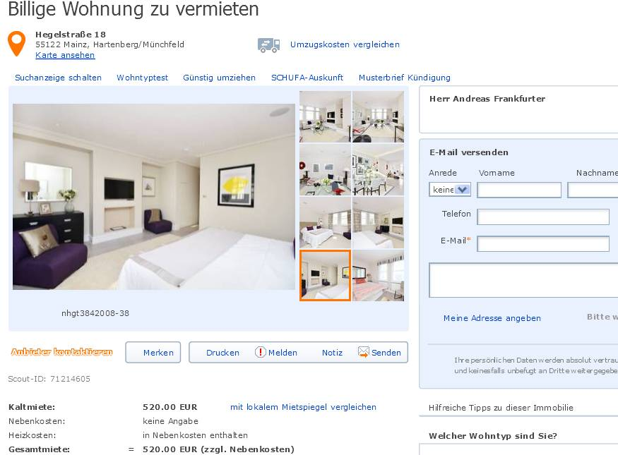 gegen wohnungsbetrug against rental scammers informationen ber betrugsangebote auf den. Black Bedroom Furniture Sets. Home Design Ideas