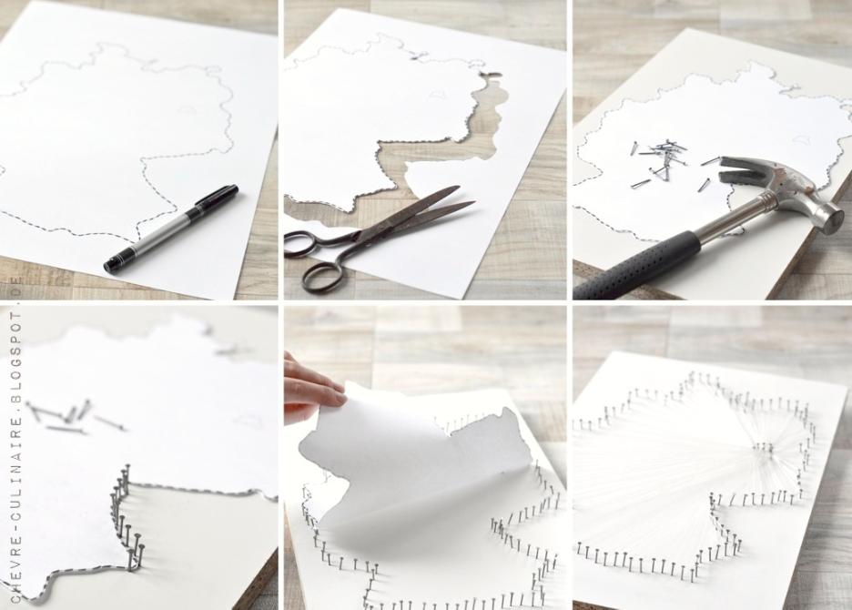 Chèvre Culinaire: [DIY] String art map - Landkartenbild